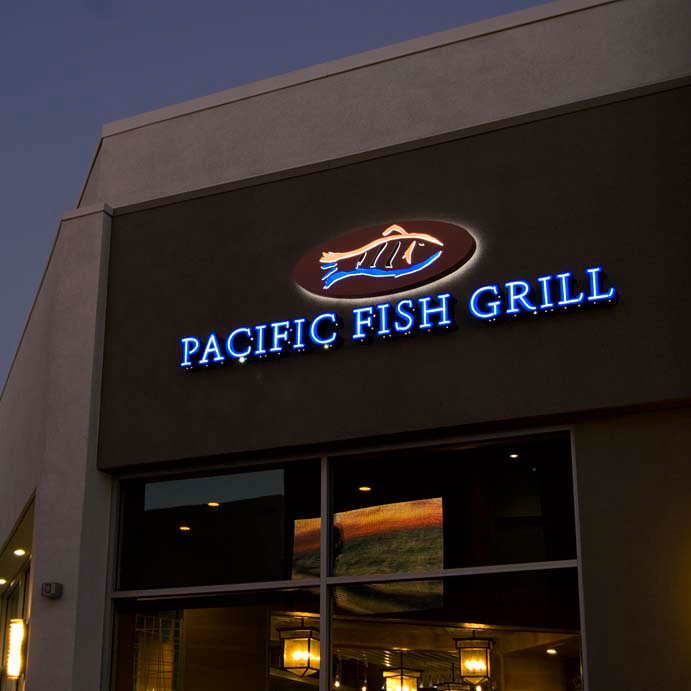 Pacific Fish Grill Channel Inland Signs