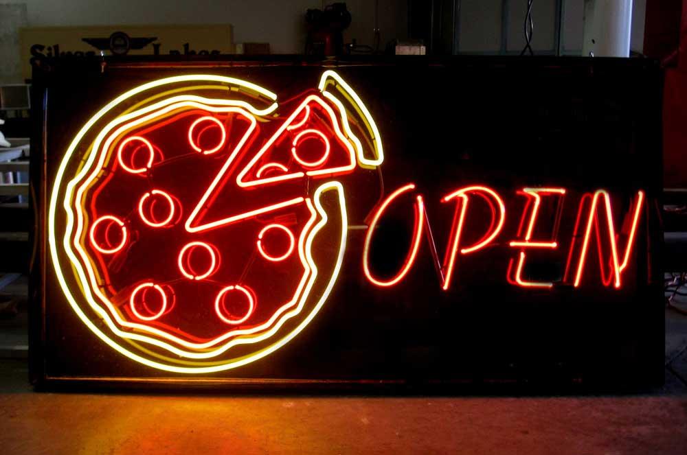 neon pizza sign Inland Signs Restaurants